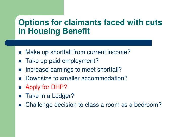 Options for claimants faced with cuts in Housing Benefit