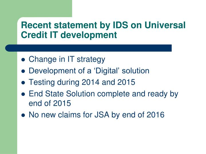 Recent statement by IDS on Universal Credit IT development