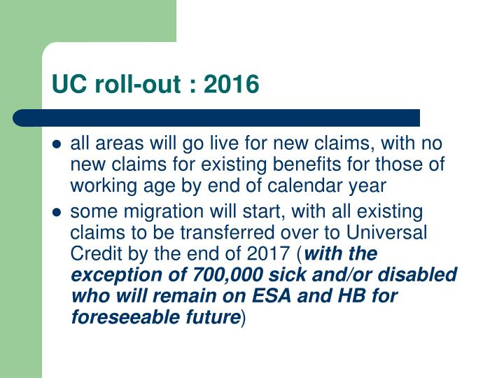 UC roll-out : 2016