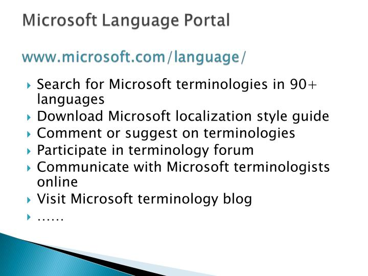 Search for Microsoft terminologies in 90+ languages