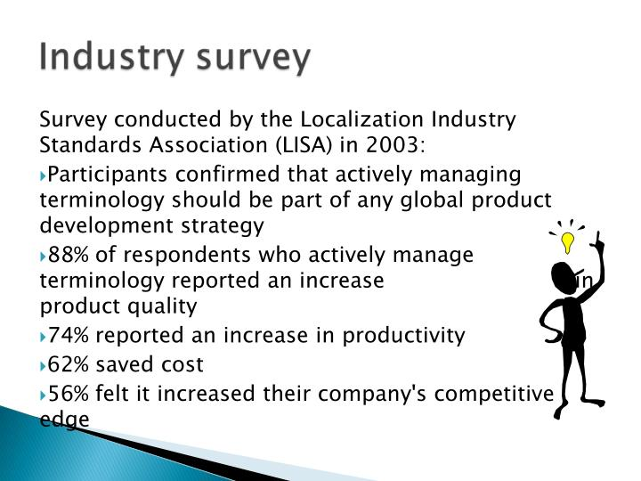 Survey conducted by the Localization Industry Standards Association (LISA) in 2003: