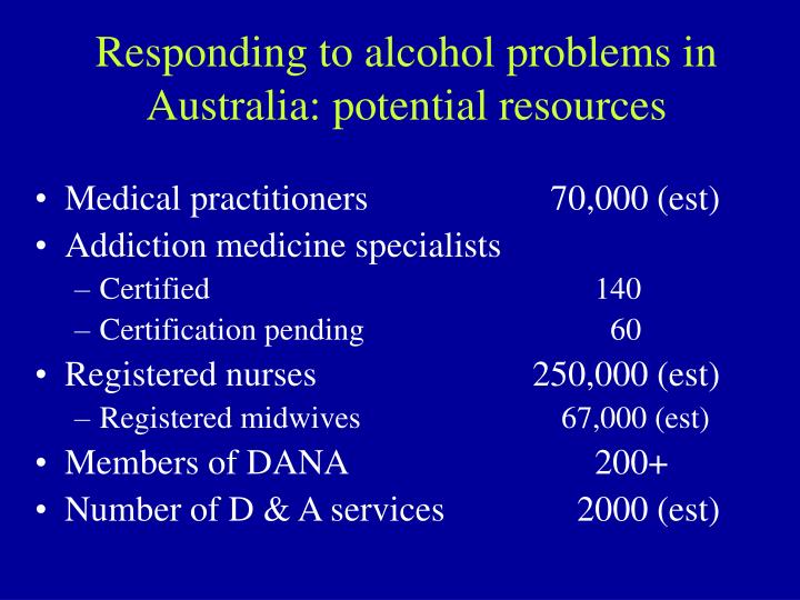 Responding to alcohol problems in Australia: potential resources