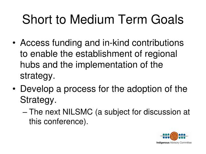 Short to Medium Term Goals