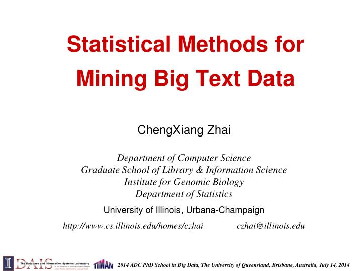 statistical methods for mining big text data n.