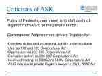 criticisms of asic