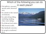which of the following you can do in each place1