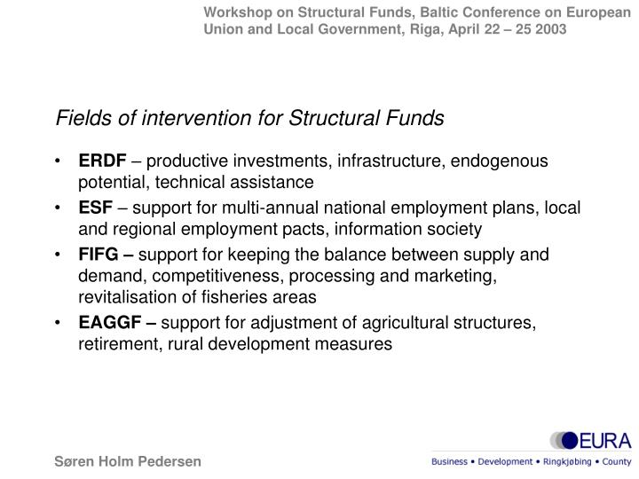 Fields of intervention for Structural Funds