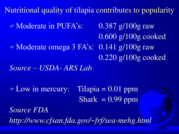 Nutritional quality of tilapia contributes to popularity