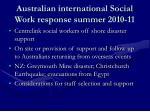 australian international social work response summer 2010 11