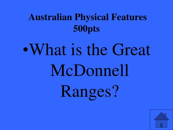 Australian Physical Features 500pts