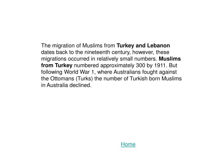 The migration of Muslims from