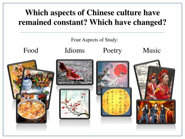 different aspect of chinese culture and Aspects of culture: what malinowski found was that every aspect of such ocean this makes the concerns of the structuralist quite different from.
