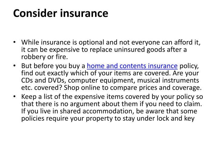 Consider insurance