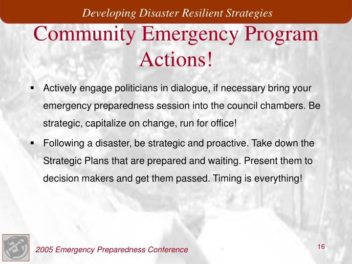 Community Emergency Program