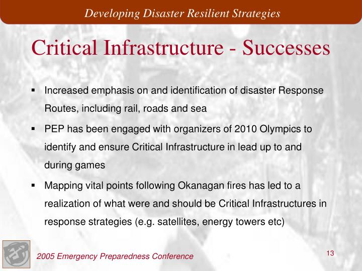 Critical Infrastructure - Successes