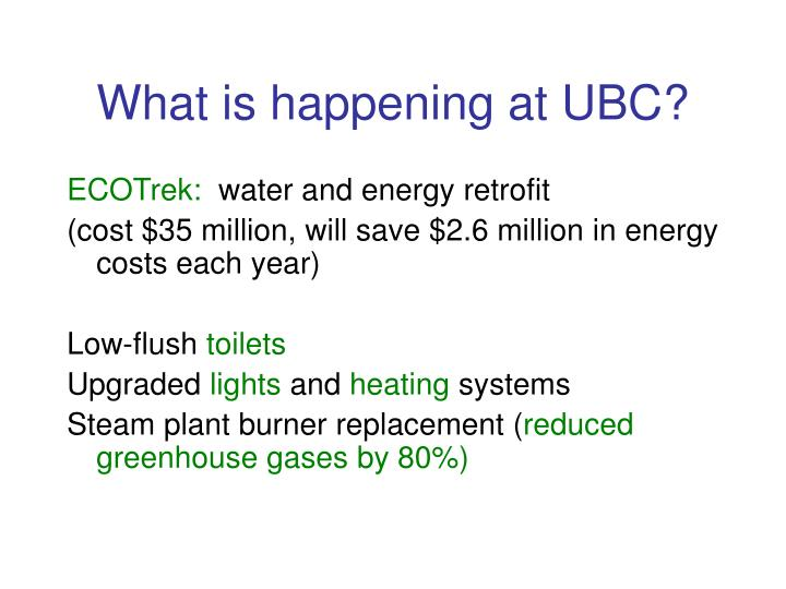 What is happening at UBC?