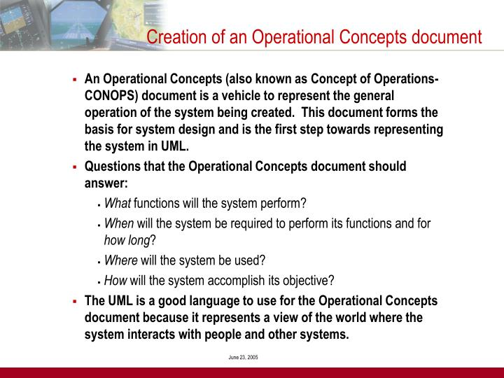 Creation of an Operational Concepts document