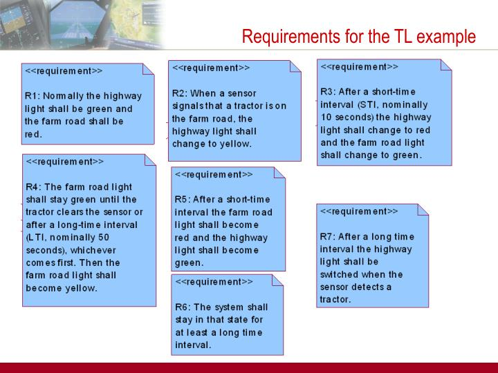 Requirements for the TL example