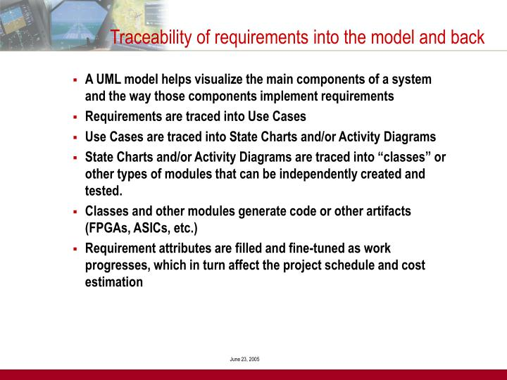 Traceability of requirements into the model and back