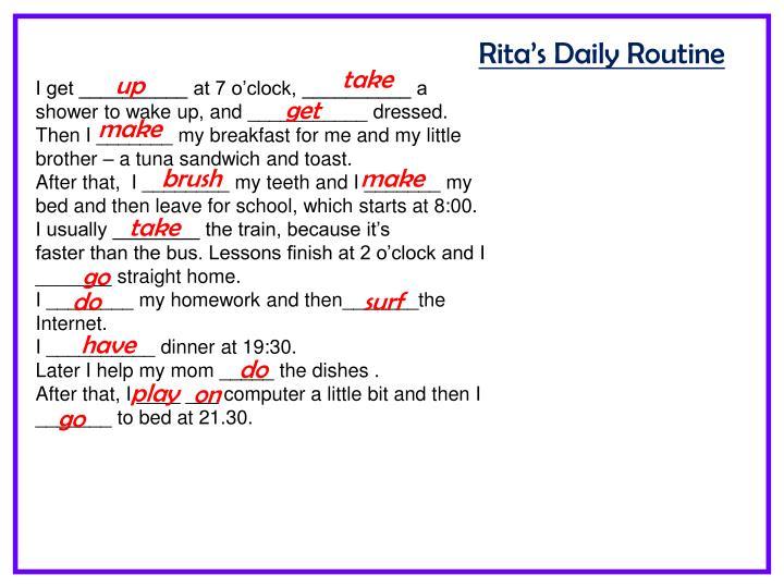 Rita's Daily Routine