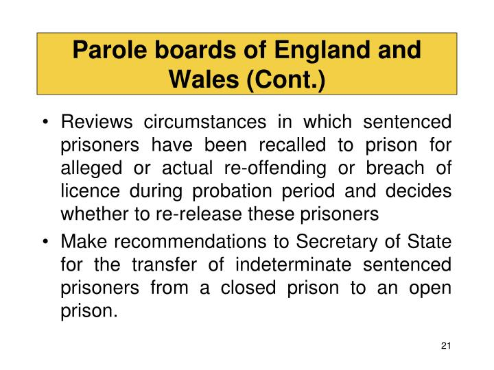 Parole boards of England and Wales (Cont.)