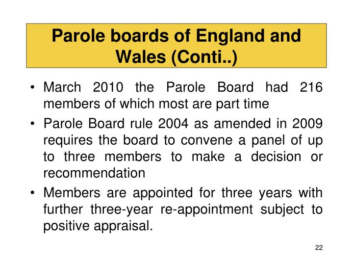 Parole boards of England and Wales (Conti..)