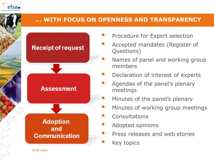 ... With focus on openness and transparency