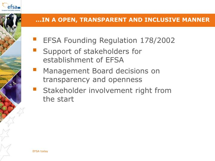 ...in a open, transparent and inclusive manner