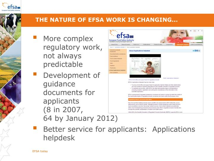 The nature of EFSA work is changing...