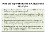 pulp and paper industries in ganga basin highlights