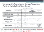 summary of information on sewage treatment plants in kolkata city west bengal