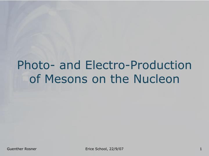 Photo and electro production of mesons on the nucleon