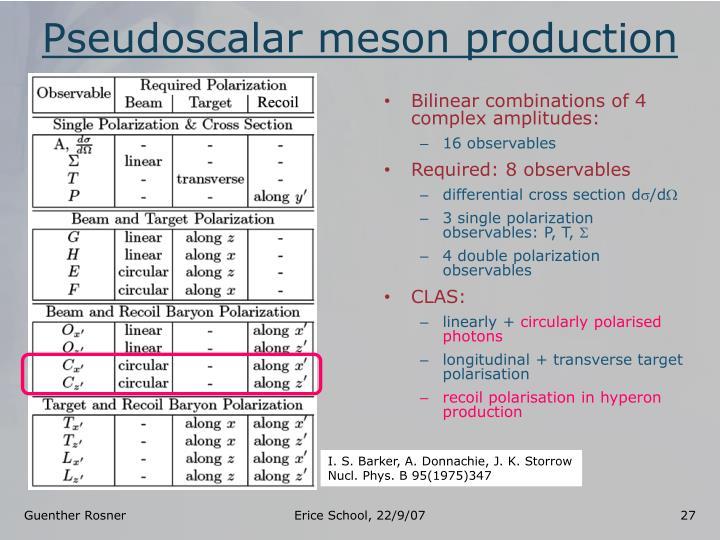 Pseudoscalar meson production