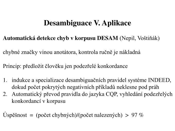 Desambiguace V. Aplikace