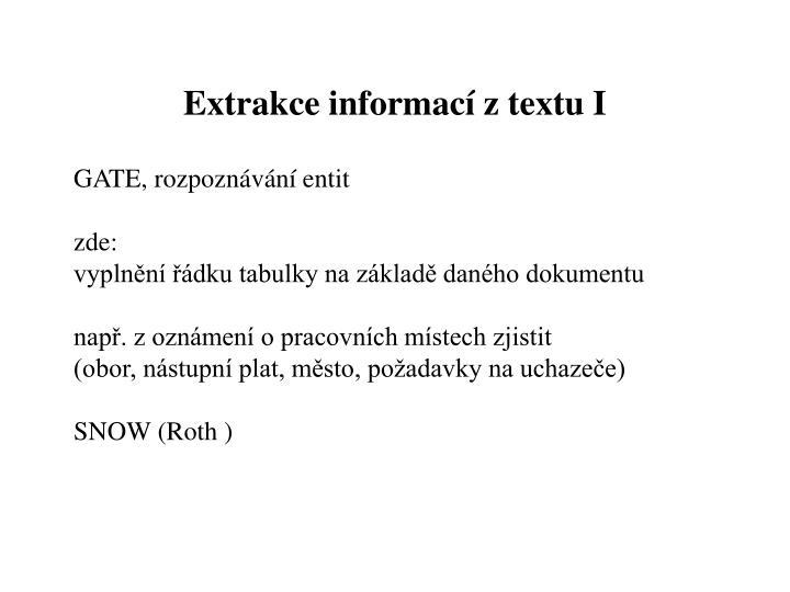 Extrakce informací z textu I