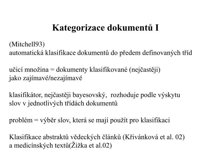Kategorizace dokumentů I