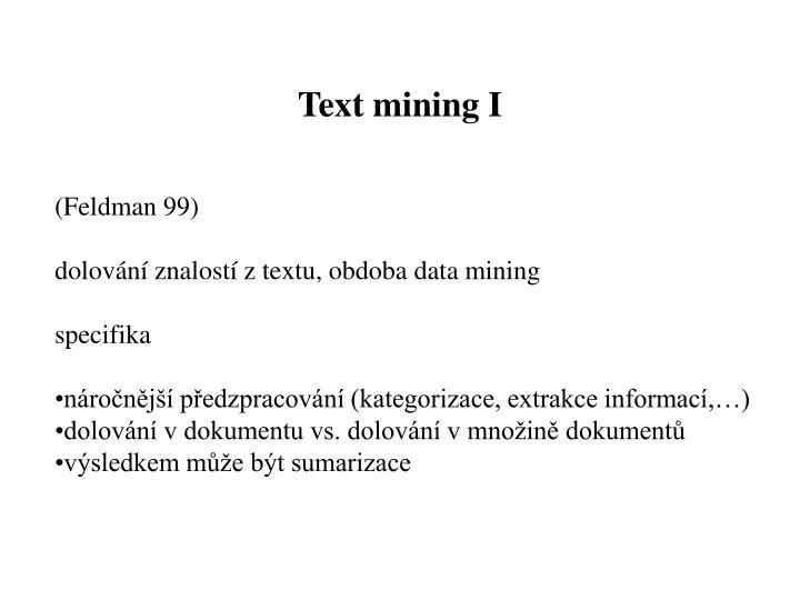 Text mining I