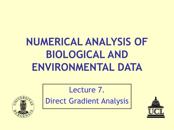 numerical analysis of biological and environmental data n.