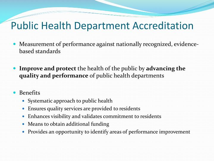 Public health department accreditation