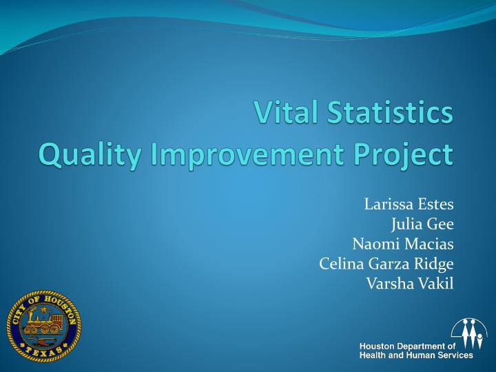 Vital statistics quality improvement project