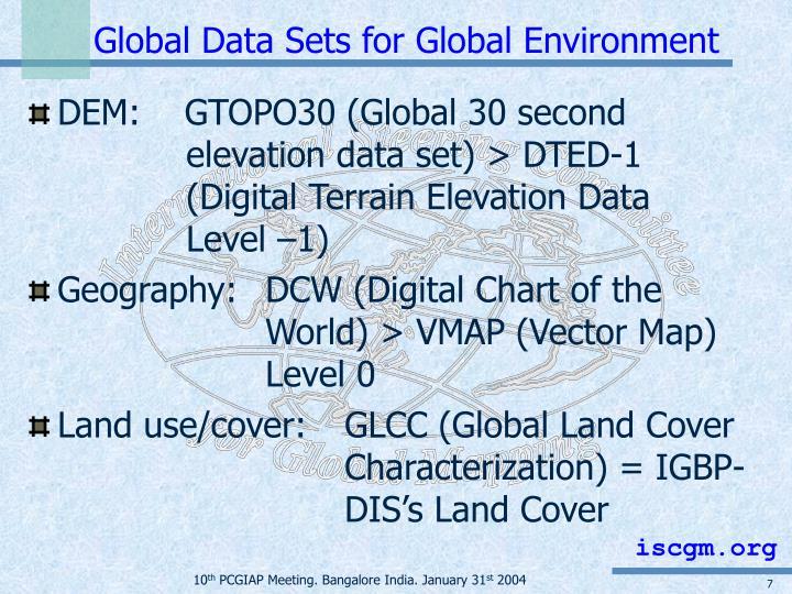 Global Data Sets for Global Environment