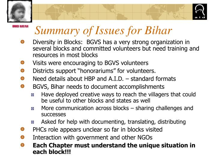 Summary of Issues for Bihar