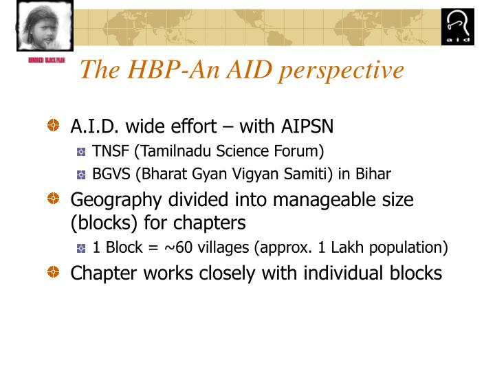 The hbp an aid perspective