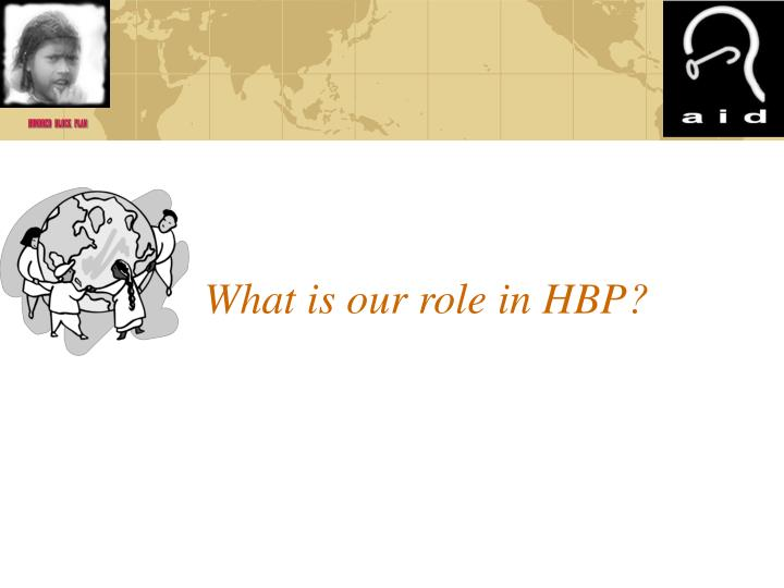 What is our role in HBP?