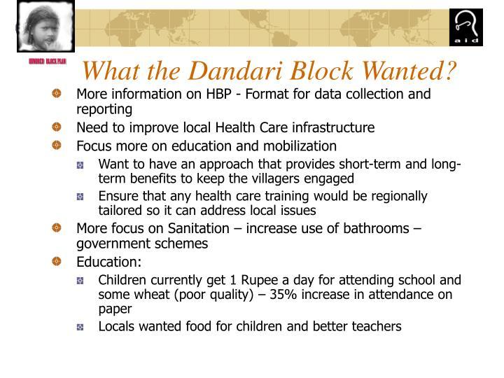 What the Dandari Block Wanted?