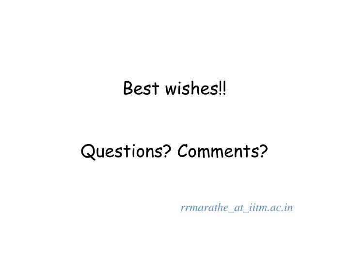 Best wishes!!
