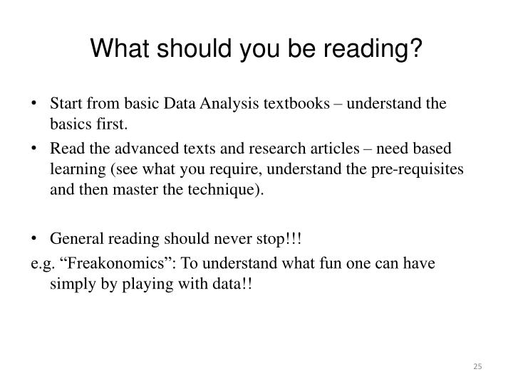 What should you be reading?