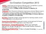 co creation competition 2013