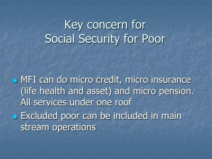 Key concern for social security for poor
