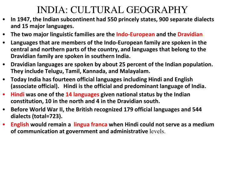 INDIA: CULTURAL GEOGRAPHY